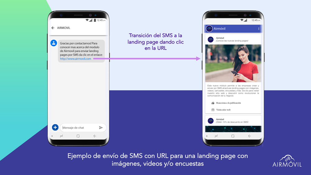 Airmovil Landing Pages SMS